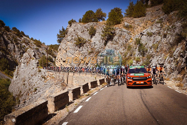 The start of Stage 3 of La Vuelta d'Espana 2021, running 202.8km from Santo Domingo de Silos to Picon Blanco, Spain. 16th August 2021.    <br /> Picture: Cxcling | Cyclefile<br /> <br /> All photos usage must carry mandatory copyright credit (© Cyclefile | Cxcling)