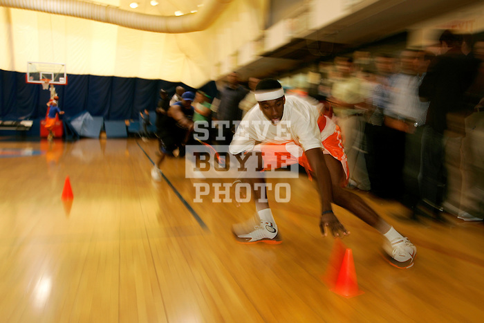 Donte Greene practices at Basketball City in New York City on August 31, 2006.  The high school players were in town for the Elite 24 Hoops Classic, which brought together the top 24 high school basketball players in the country regardless of class or sneaker affiliation.