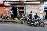 Nepal, Kathmandu.  Motorcycle Repair Shop.