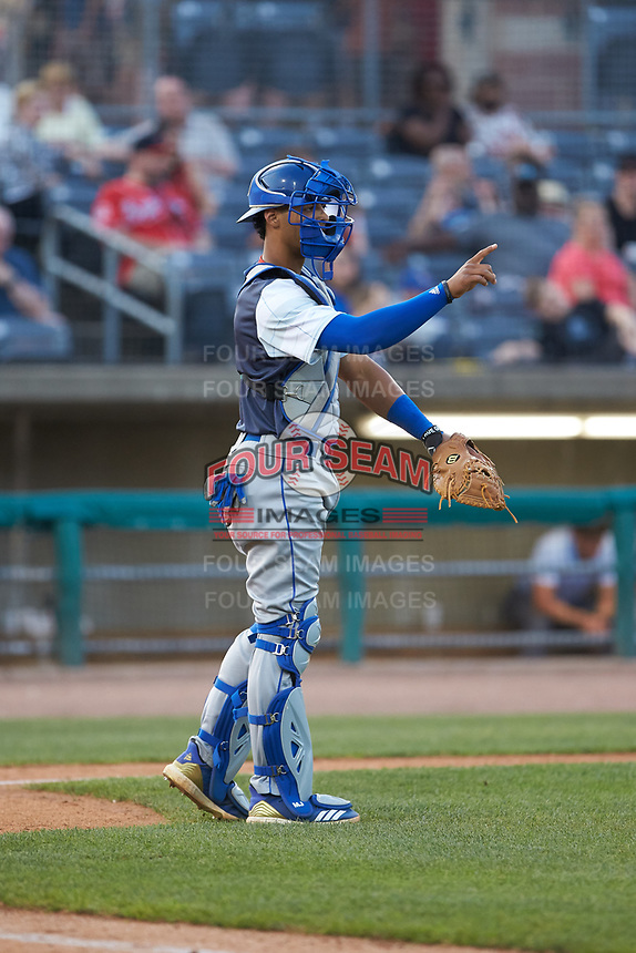 Lexington Legends catcher MJ Melendez (7) gives defensive signals to the infield during the game against the West Virginia Power at Appalachian Power Park on June 7, 2018 in Charleston, West Virginia. The Power defeated the Legends 5-1. (Brian Westerholt/Four Seam Images)