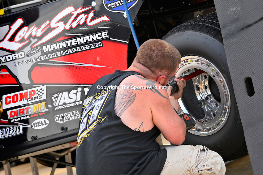 May 22, 2014; 4:26:38 PM; Wheatland, Mo., USA; The  Lucas Oil Late Model Dirt Series running the 22nd Annual Lucas Oil Show-Me 100 Presented by ProtectTheHarvest.com.  Mandatory Credit: (thesportswire.net)