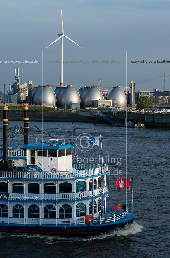 GERMANY, Hamburg, annual port event Hafengeburtstag with ships on river Elbe and Nordex wind turbine at Hamburg Wasser Koehlbrandhoeft / DEUTSCHLAND Hamburg, Hafengeburtstag, Boote, Schiffe auf der Elbe vor Nordex Windkraftanlage auf dem Koehlbrandhoeft von Hamburg Wasser, Faultuerme der Biogasanlage auf dem Klaerwerk