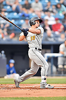 West Virginia Power center fielder Jarred Kelenic (10) swings at a pitch during a game against the Asheville Tourists at McCormick Field on April 18, 2019 in Asheville, North Carolina. The Power defeated the Tourists 12-7. (Tony Farlow/Four Seam Images)
