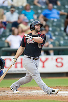 Sacramento River Cats outfielder Shane Peterson (32) follows through on his swing during the Pacific Coast League baseball game against the Round Rock Express on June 19, 2014 at the Dell Diamond in Round Rock, Texas. The Express defeated the River Cats 7-1. (Andrew Woolley/Four Seam Images)