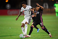 LAKE BUENA VISTA, FL - JULY 27: Mark-Anthony Kaye #14 of LAFC dribbles the ball during a game between Seattle Sounders FC and Los Angeles FC at ESPN Wide World of Sports on July 27, 2020 in Lake Buena Vista, Florida.