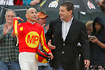 Jockey Mike Smith and co-trainer Jimmy Barnes after winning the Rebel Stakes (Grade II) at Oaklawn Park in Hot Springs, Arkansas-USA on March 15, 2014. (Credit Image: © Justin Manning/Eclipse/ZUMAPRESS.com)