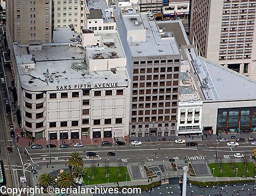 aerial photograph Saks Fifth Avenue Union Square San Francisco, California