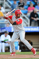 Williamsport Crosscutters outfielder Samuel Hiciano #7 during a game against the Jamestown Jammers on June 20, 2013 at Russell Diethrick Park in Jamestown, New York.  Jamestown defeated Williamsport 12-6.  (Mike Janes/Four Seam Images)