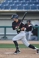 Luis Caballero (7) of the Bakersfield Blaze bats during a game against  the Rancho Cucamonga Quakes at LoanMart Field on June 1, 2015 in Rancho Cucamonga, California. Rancho Cucamonga defeated Bakersfield, 5-2. (Larry Goren/Four Seam Images)