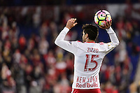 Harrison, NJ - Wednesday Feb. 22, 2017: Salvatore Zizzo during a Scotiabank CONCACAF Champions League quarterfinal match between the New York Red Bulls and the Vancouver Whitecaps FC at Red Bull Arena.