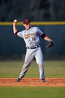 Central Michigan Chippewas second baseman Jason Sullivan (18) during a game against the Boston College Eagles on March 8, 2016 at North Charlotte Regional Park in Port Charlotte, Florida.  Boston College defeated Central Michigan 9-3.  (Mike Janes/Four Seam Images)