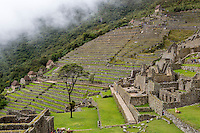 Peru, Machu Picchu.  Agricultural Terraces below the Guardhouse (Upper Right); Royal Residence, lower right.
