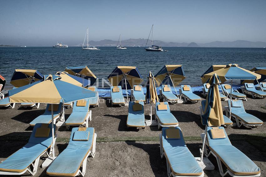 Abandoned tourist beach. Kos, Greece. Sept. 5, 2015