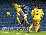 25.10.2020 Rangers v Livingston: Cedric Itten beats Marvin Bartley to aim a header towards goal