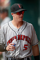 Indianapolis Indians Kevin Newman (5) during a game against the Buffalo Bisons on August 17, 2017 at Coca-Cola Field in Buffalo, New York.  Buffalo defeated Indianapolis 4-1.  (Mike Janes/Four Seam Images)