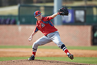 NJIT Highlanders relief pitcher Brett Lubreski (18) in action against the High Point Panthers at Williard Stadium on February 18, 2017 in High Point, North Carolina. The Panthers defeated the Highlanders 11-0 in game one of a double-header. (Brian Westerholt/Four Seam Images)
