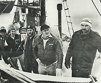 1984 FILE PHOTO - ARCHIVES -<br /> <br /> 1984 FILE - <br /> <br /> Five angry Quebec seal hunters; some of whom admit to damaging an anti-sealing group's helicopter Sunday; stand on the deck of one of their boats. From left are Antoine Poirier; Patrice Theriault; Lucien Poirier; Andre Langford and Claude Poirier; who say; We are not criminals.<br /> <br /> PHOTO : <br /> Bull, Ron<br /> <br /> PHOTO : Ron BULL - Toronto Star Archives - AQP