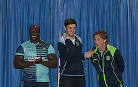 Media Manager Matt Cecil talks to Manager Gareth Ainsworth as Adebayo Akinfenwa is unveiled as a new Wycombe player during the Wycombe Wanderers 2016/17 Kit launch to the Public at Adams Park, High Wycombe, England on 10 July 2016. Photo by Andy Rowland.