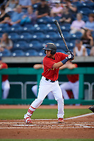 State College Spikes left fielder Jonatan Machado (3) at bat during a game against the West Virginia Black Bears on August 30, 2018 at Medlar Field at Lubrano Park in State College, Pennsylvania.  West Virginia defeated State College 5-3.  (Mike Janes/Four Seam Images)