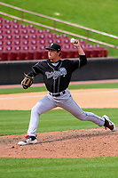 Lansing Lugnuts pitcher Brody Rodning (32) delivers a pitch during a Midwest League game against the Wisconsin Timber Rattlers on May 8, 2018 at Fox Cities Stadium in Appleton, Wisconsin. Lansing defeated Wisconsin 11-4. (Brad Krause/Four Seam Images)