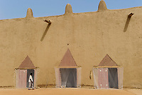 MALI, Djenne , Grand Mosque built from clay is an UNESCO world heritage, inner courtyard, entrance with curtain