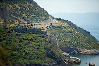 peloton riding along the Turkish coast<br /> <br /> Tour of Turkey 2014<br /> stage 7
