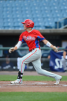 Zachary Sullivan (3) of Corning Painted Post East High School in Corning, New York playing for the Philadelphia Phillies scout team during the East Coast Pro Showcase on July 31, 2013 at NBT Bank Stadium in Syracuse, New York.  (Mike Janes/Four Seam Images)