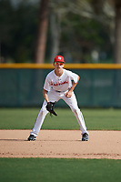 Matthew Mancuso (24), from Syosset, New York, while playing for the Nationals during the Baseball Factory Pirate City Christmas Camp & Tournament on December 29, 2017 at Pirate City in Bradenton, Florida.  (Mike Janes/Four Seam Images)