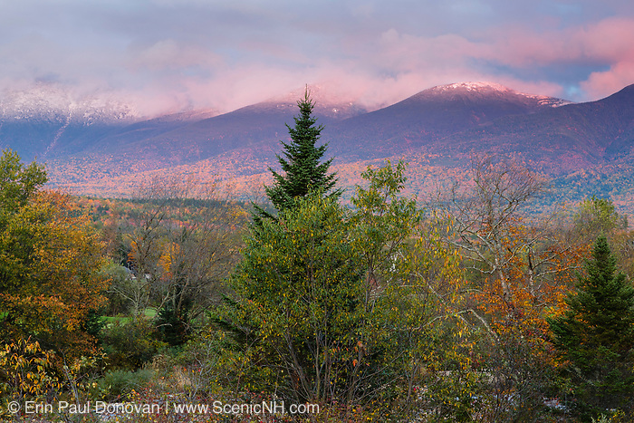 Presidential Range at sunset during the autumn months from Route 302 in the White Mountains, New Hampshire USA.