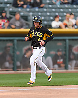 Nolan Fontana (4) of the Salt Lake Bees scores during the game against the Sacramento River Cats in Pacific Coast League action at Smith's Ballpark on April 13, 2017 in Salt Lake City, Utah. Salt Lake defeated Sacramento 4-3.  (Stephen Smith/Four Seam Images)