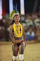 Durante 9 dias 1.800 atletas indígenas: 1.100 de etnias brasileiras e 700 de etnias internacionais participam dos I Jogos Mundiais dos Povos Indígenas, em Palmas no Tocantins entre os dias 23 a 31 de outubro. Diversas modalidades como arco e flecha, arremesso de lança, cabo de força, canoagem, corrida com tora, corrida de resistência (10km), corrida de velocidade (100m), futebol, lutas corporais, natação e canoagem serão disputados pelos participantes, além de esportes e jogos tradicionais específicos de cada etnia que serão apresentados.<br /> Palmas, Tocantins, Brasil.<br /> Foto Marcello Lourenço<br /> out/2015