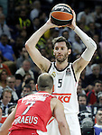 Real Madrid's Rudy Fernandez (t) and Olympiacos Piraeus' Vassilis Spanoulis during Euroleague Final Match. May 15,2015. (ALTERPHOTOS/Acero)
