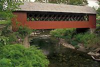 AJ4456, covered bridge, Brattleboro, Vermont, The red Creamery Covered Bridge ca. 1879 crosses over Whetstone Brook in Brattleboro in Windham County in the state of Vermont.