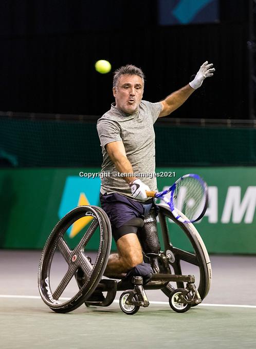 Rotterdam, The Netherlands, 5 march  2021, ABNAMRO World Tennis Tournament, Ahoy,  First round wheelchair: Stephane Houdet (FRA) Photo: www.tennisimages.com/