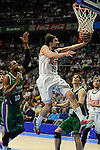 Real Madrid´s Sergio Llull and Unicaja´s Will Thomas and Carlos Suarez during 2014-15 Liga Endesa match between Real Madrid and Unicaja at Palacio de los Deportes stadium in Madrid, Spain. April 30, 2015. (ALTERPHOTOS/Luis Fernandez)