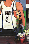 Tango mural, Plaza Dorrego, San Telmo, Buenos Aires flower girl selling cut flowers in the street Argentina South America 2002 2000s