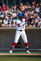 Luis Mieses (21) of the Kannapolis Cannon Ballers at bat against the Charleston RiverDogs at Atrium Health Ballpark on July 4, 2021 in Kannapolis, North Carolina. (Brian Westerholt/Four Seam Images)