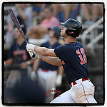 Riverside High grad Caden Grice (18) of the Greer Warhawks, a Clemson commit, hits a home run in a South Carolina American League game against Easley on Thursday, July 16, 2020, at Stevens Field in Greer, South Carolina. Greer won, 9-4. (Tom Priddy/Four Seam Images)