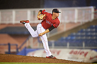 Salem Red Sox starting pitcher Jhonathan Diaz (28) delivers a pitch during the second game of a doubleheader against the Potomac Nationals on June 11, 2018 at Haley Toyota Field in Salem, Virginia.  Potomac defeated Salem 4-0.  (Mike Janes/Four Seam Images)