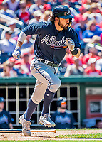 9 July 2017: Atlanta Braves infielder Dansby Swanson in action against the Washington Nationals at Nationals Park in Washington, DC. The Nationals defeated the Braves to split their 4-game series. Mandatory Credit: Ed Wolfstein Photo *** RAW (NEF) Image File Available ***