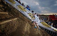 current World Cup leader Lars van der Haar (NLD) up the steep sand slope<br /> <br /> UCI Worldcup Heusden-Zolder Limburg 2013