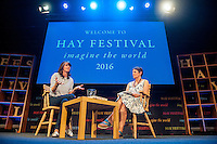 Hay on Wye, Wales, UK Friday 27 May 2016<br /> Emma Bridgewater (L) talks at the Hay festival<br /> The 2016 Hay festival take place at Hay on Wye, Powys, Wales