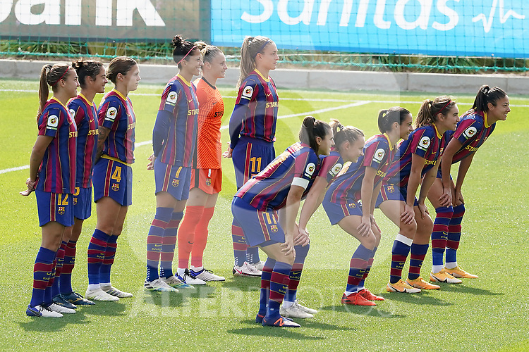 First official match and first classic in the history of women's Real Madrid.<br /> FC Barcelona's team photo during Spanish Female League match. October 4,2020. (ALTERPHOTOS/Acero)