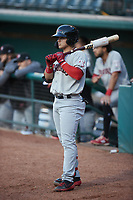 Frainyer Chavez (5) of the Hickory Crawdads waits for his turn to bat during the game against the Greensboro Grasshoppers at First National Bank Field on May 6, 2021 in Greensboro, North Carolina. (Brian Westerholt/Four Seam Images)