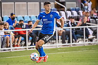 SAN JOSE, CA - AUGUST 13: Luciano Abecasis #2 of the San Jose Earthquakes dribbles the ball during a game between San Jose Earthquakes and Vancouver Whitecaps at PayPal Park on August 13, 2021 in San Jose, California.