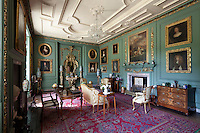 17th and 18th century portraits, including The Rape of Europa by Antonio Verrio which hangs above the fireplace, adorn the walls of the green Grenville Room