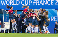 REIMS, FRANCE - JUNE 8: Ingrid Syrstad Engen #14, Maria Thorisdottir #3, and Isabell Herlovsen #9 of Norway celebrate a goal with teammates during a 2019 FIFA Women's World Cup match between Norway and Nigeria at Stade Auguste-Delaune on June 8, 2019 in Reims, France.