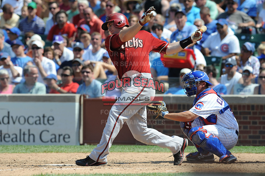 Arizona Diamondbacks first baseman Paul Goldschmidt #44 swings at  a pitch during a game against the Chicago Cubs at Wrigley Field on July 15, 2012 in Chicago, Illinois. The Cubs defeated the Diamondbacks 3-1. (Tony Farlow/Four Seam Images).