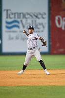 Jackson Generals third baseman Juniel Querecuto (9) throws to first base during a game against the Chattanooga Lookouts on May 9, 2018 at AT&T Field in Chattanooga, Tennessee.  Chattanooga defeated Jackson 4-2.  (Mike Janes/Four Seam Images)