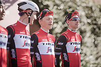 Team Trek-Segafredo podium presentation with Bauke Mollema (NED/Trek-Segafredo)<br /> <br /> 13th Strade Bianche 2019 (1.UWT)<br /> One day race from Siena to Siena (184km)<br /> <br /> ©kramon